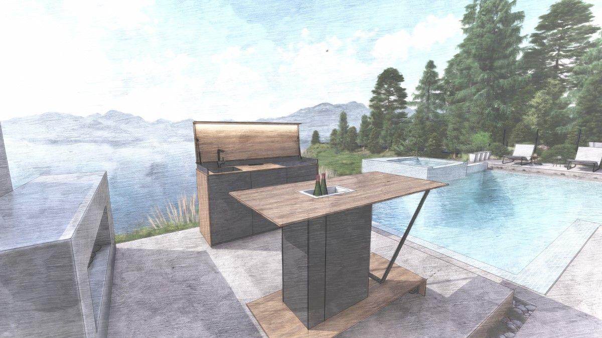 Outdoork%C3%BCche 3D Entwurf - Eine Neuheit unter den Outdoorküchen: Die Grillbar